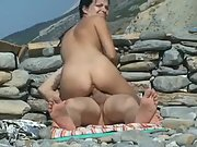 Hot brown-haired with nice juggs gets caught riding a ample shaft in public