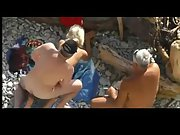Mature nudist couple have some oral gonzo fun before enjoying public fuck-a-thon