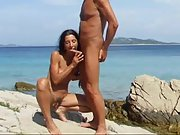 Nudist couple deep throat by the med