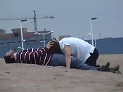 Naughty wife sucking hubby and guzzling jizz at the beach