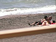 Outdoor public nip beach blowjob tits