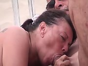 Mature wifey drinking stranger's cum at a nudist beach