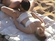 Immense funbag brunette gets licked out and poked at the beach