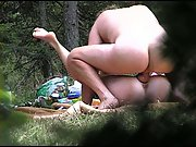 Fat trouser snake romping wet muff outdoors in the wood public intercourse