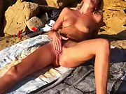 Kinky wife with stunning long legs jacking hard at the beach